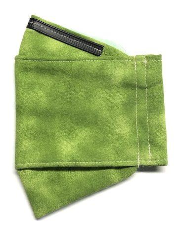Face mask in dappled green